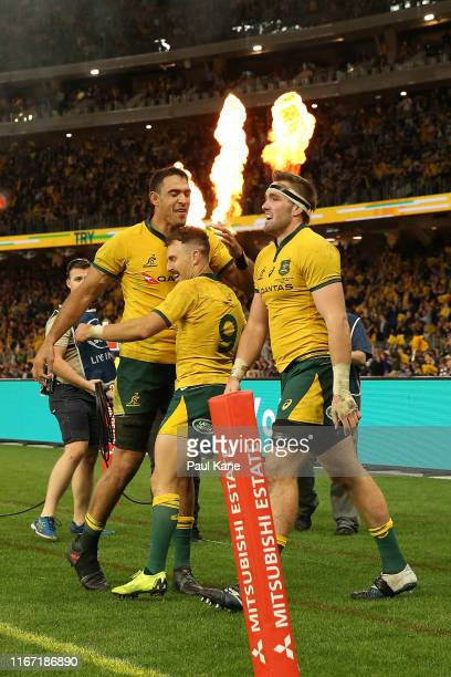 Nic White of the Wallabies celebrates try with Rory Arnold during the 2019 Rugby Championship Test Match between the Australian Wallabies and the New...