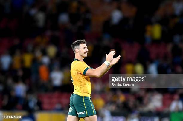 Nic White of the Wallabies celebrates victory after the 2020 Tri-Nations match between the Australian Wallabies and the New Zealand All Blacks at...