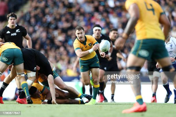 Nic White of the Wallabies in action during the Bledisloe Cup match between the New Zealand All Blacks and the Australian Wallabies at Eden Park on...