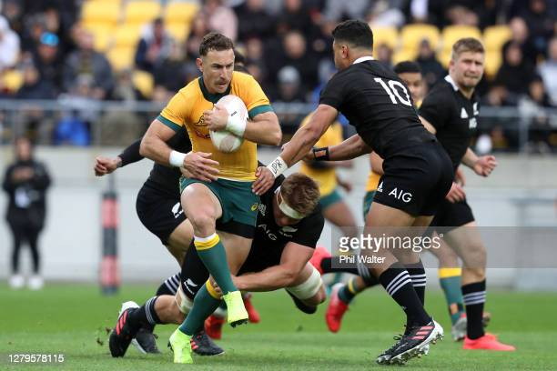 Nic White of the Wallabies makes a break during the Bledisloe Cup match between the New Zealand All Blacks and the Australian Wallabies at Sky...