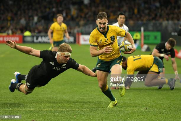 Nic White of the Wallabies runs in for a try during the 2019 Rugby Championship Test Match between the Australian Wallabies and the New Zealand All...
