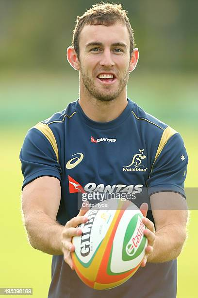 Nic White passes during an Australian Wallabies training session at Sanctuary Cove on June 3 2014 in Gold Coast Australia