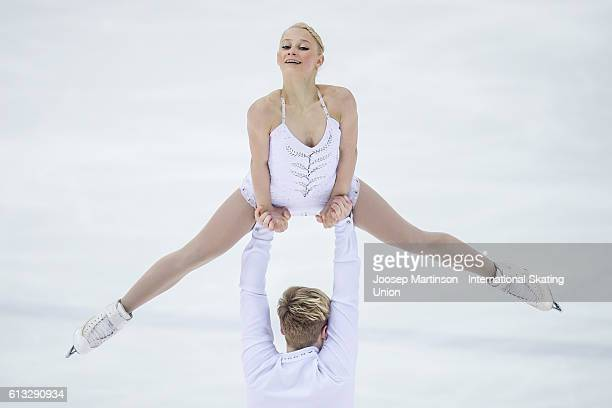 Nica Digerness and Danny Neudecker of the United States compete during the Junior Pairs Free Skating on day three of the ISU Junior Grand Prix of...