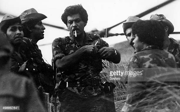 Nicaragua Sandinista Popular Army Soldiers with their commander in Northern Nicaragua January 1985
