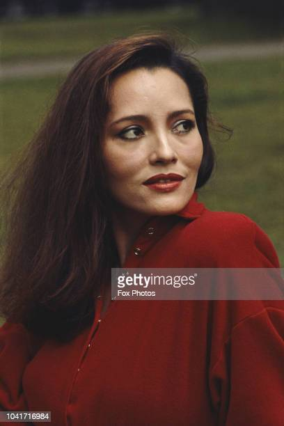 Nicaragua-born actress Barbara Carrera in London to promote her latest film 'Wild Geese 2', 1985. She plays Kathy Lukas in the film.