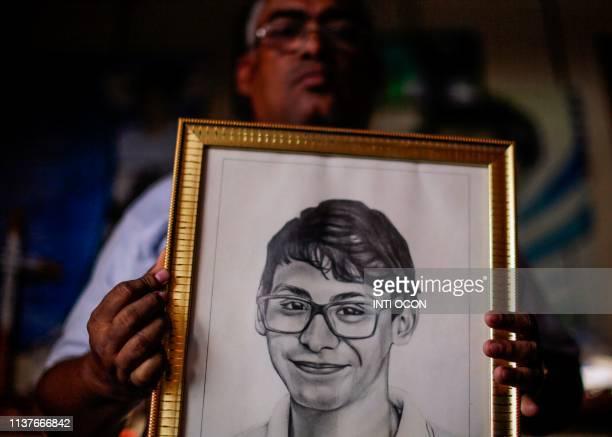 Nicaraguan Alvaro Jose Conrado father of late high school student Alvaro Conrado the first underage demonstrator killed during antigovernment...