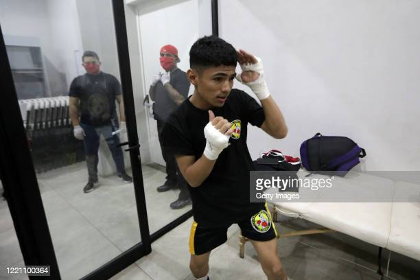 Nicaraguan boxer Harold Arnold warms up in the locker rooms at Alexis Arguello Sports Center on April 25 2020 in Managua Nicaragua Nicaragua is one...