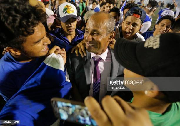 Nicaraguan Coach Henry Duarte celebrates his win against Haiti during the second match to define the last qualified to the 2017 Gold Cup winning 30...