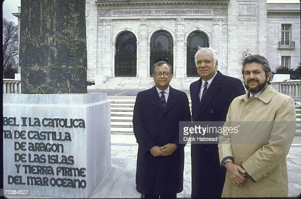 Nicaraguan Contra ldrs Adolfo Calero Arturo Cruz and Alfonso Robello