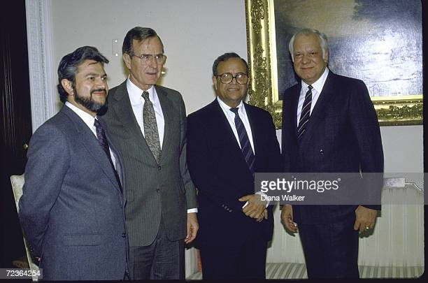 Nicaraguan Contra ldrs Alfonso Robelo and Adolfo Calero and Arturo Cruz with VP George Bush at the White House
