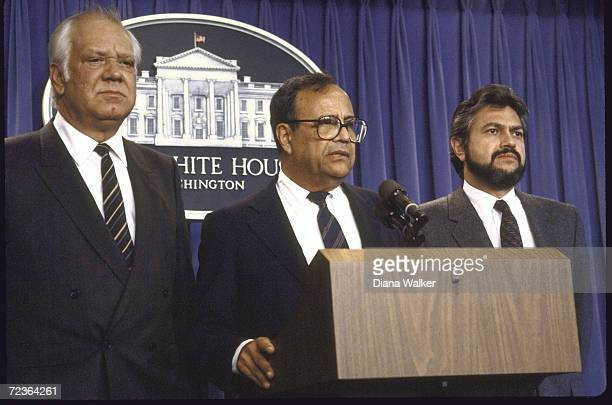 Nicaraguan Contra ldrs Alfonso Robelo and Adolfo Calero and Arturo Cruz during Press conference at the White House