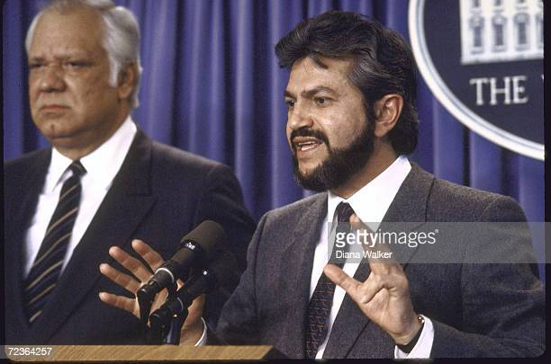 Nicaraguan Contra ldrs Alfonso Robelo and Adolfo Calero during Press conference at the White House