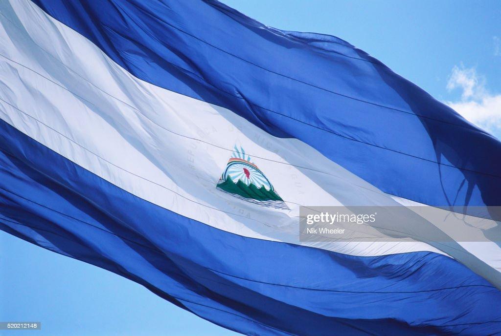 Nicaraguan Flag in Wind : Stock Photo