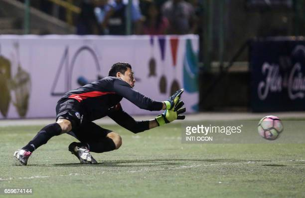 Nicaraguan Gol keeper Diedrich Tellez captures the ball during the second match of Nicaragua vs Haiti semifinal for the 2017 Gold Cup at the National...