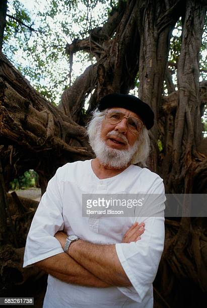 Nicaraguan Minister of Culture Ernesto Cardenal in the garden of his ministry