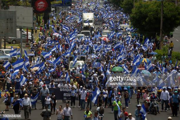 Nicaraguan opposition protesters take part in a march called 'Masaya florecera' in support of the stronghold of antiOrtega demonstrations in Managua...