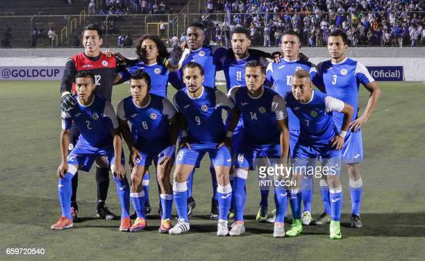 Nicaraguan players pose for a picture before the start of the second match against Haiti during the 2017 Gold Cup semifinal at the National Stadium...