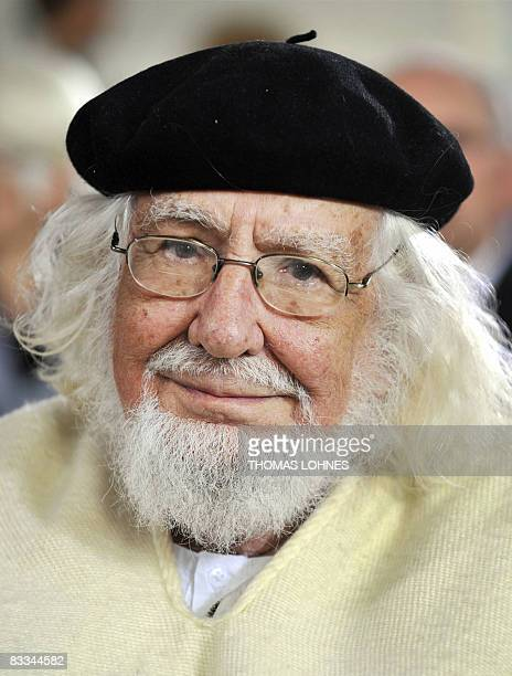 Nicaraguan poet and Catholic priest Ernesto Cardenal is pictured during the awarding ceremony for German artist Anselm Kiefer who was given the Peace...