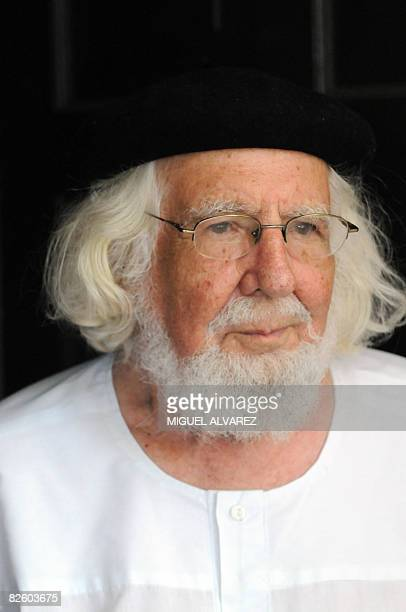 Nicaraguan poet and Catholic priest Ernesto Cardenal stands at the entrance of his home on August 29 2008 Cardenal has been condemned to pay a USD...