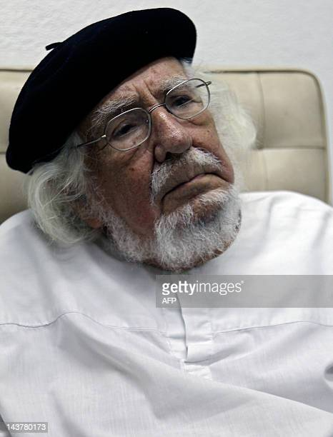 Nicaraguan poet and former Catholic priest Ernesto Cardenal poses during an interview with AFP in Managua on May 3 2012 Cardenal won the Spanish...