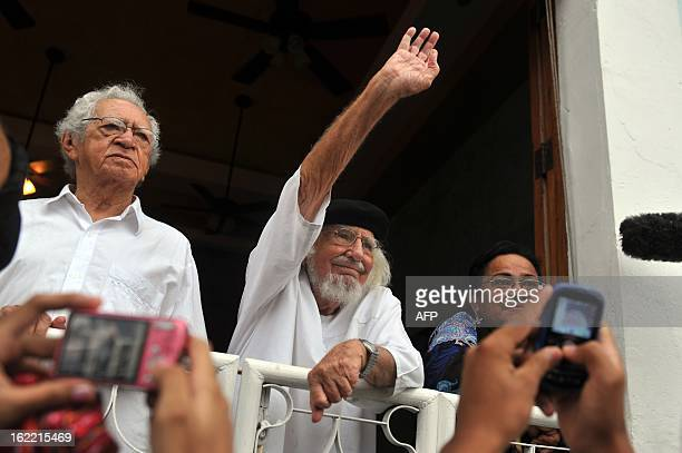 Nicaraguan poet priest and politician Ernesto Cardenal waves during the Burial of arrogance and haughtiness carnival in the framework of the IX...