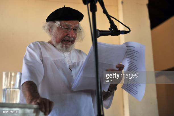 Nicaraguan poet writer priest and supporter of the liberation theology Ernesto Cardenal reads his poems during one of the activities of the IX...