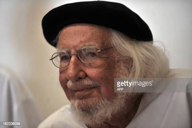 Nicaraguan poet writer priest and supporter of the liberation theology Ernesto Cardenal participates in the activities of the IX International Poetry...