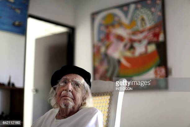 Nicaraguan poet writer priest and supporter of the liberation theology doctrine Ernesto Cardenal is pictured at home one day after participating in...