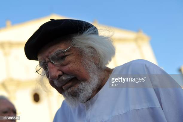 Nicaraguan poet writer priest and supporter of the liberation theology Ernesto Cardenal during one of the activities of the IX International Poetry...
