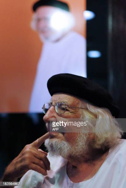 Nicaraguan poet writer priest and supporter of the Liberation theology Ernesto Cardenal gestures during the ceremony in which he was decorated in the...