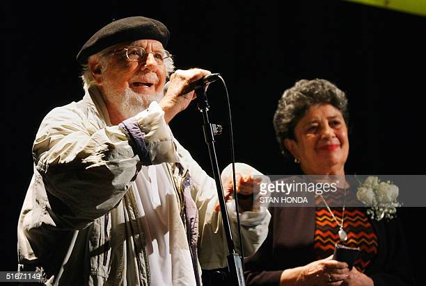 Nicaraguan poets Ernesto Cardenal and Claribel Alegria answer questions from the audience after both read poems at The Americas Society program...
