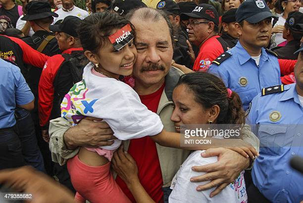 Nicaraguan President Daniel Ortega is seen among Sandinista supporters in Managua during the 36th anniversary of the ''El Repliegue'' tactical...