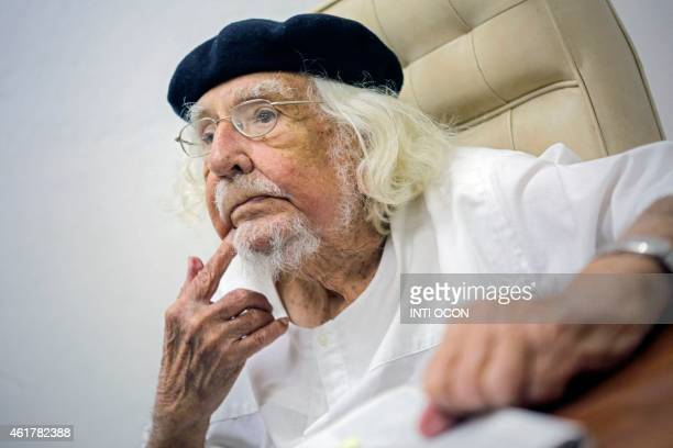 Nicaraguan Priest Ernesto Cardenal gestures at his office in Managua on January 19 2015 Cardenal who celebrates his 90th birthday Tuesday said he...