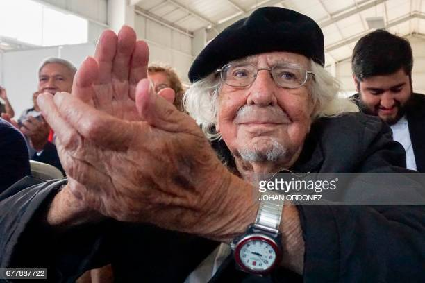 Nicaraguan Priest Ernesto Cardenal takes part of a ceremony in his honor during the inauguration of the International Reading Fair for Children and...