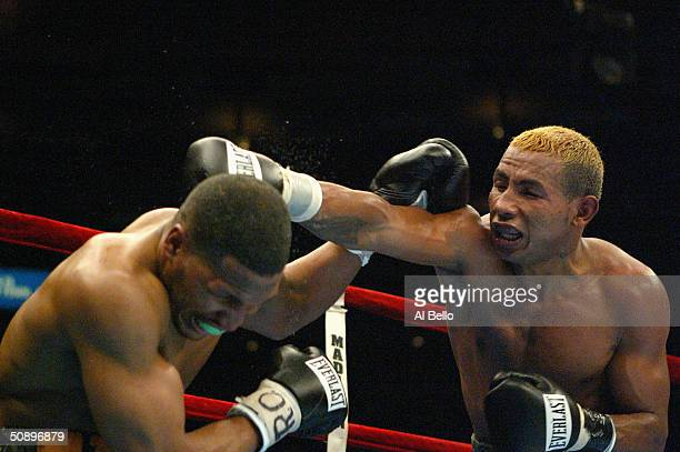 Nicaraguan Ricardo Mayorga punches American Eric Mitchell during their Super Welterweight division fight at Madison Square Garden on April 17, 2004...