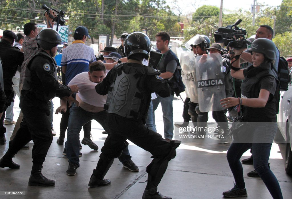 NICARAGUA-UNREST-OPPOSITION-PROTEST-MEDIA-PRESS : News Photo