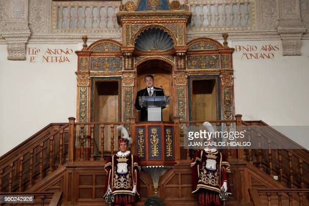 Nicaraguan writer Sergio Ramirez gives a speech after being awarded by Spain´s king Felipe VI with the 2017 Miguel de Cervantes Literature Prize at...