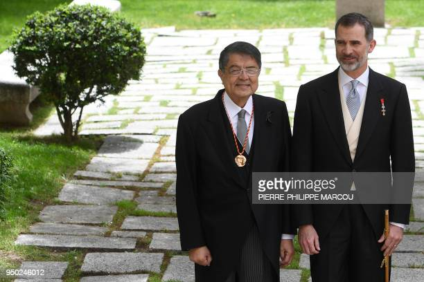 Nicaraguan writer Sergio Ramirez poses with King Felipe VI of Spain after being awarded with the 2017 Miguel de Cervantes Literature Prize at the...