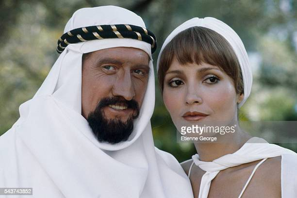 Nicaraguanborn actress and model Barbara Carrera and English actor Michael Crawford on the set of 'Condorman' directed by English director Charles...