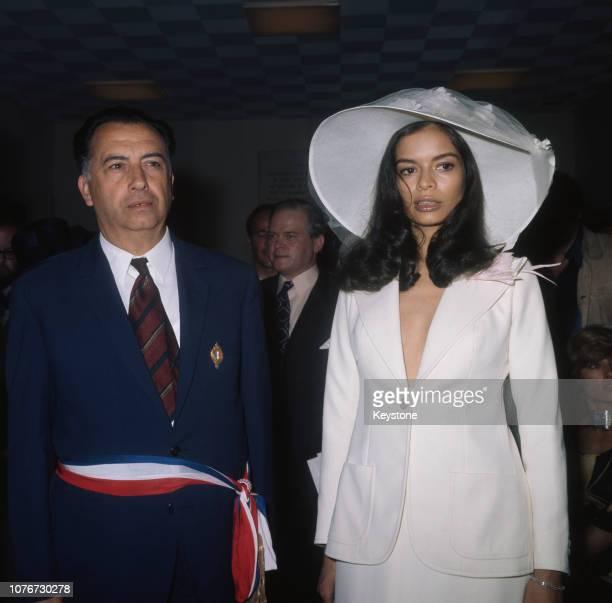 Nicaraguan-born Bianca Pérez-Mora Macias during her wedding to English singer Mick Jagger of rock group The Rolling Stones in Saint-Tropez, France,...