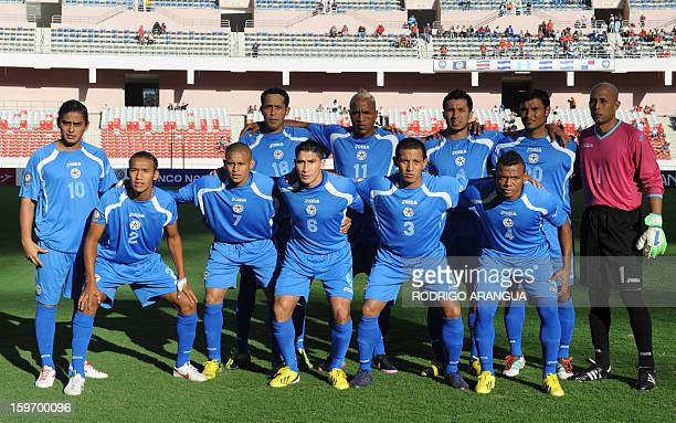 Nicaragua's national football team poses for pictures before the start of the UNCAF Central American Cup match against Guatemala in San Jose on...