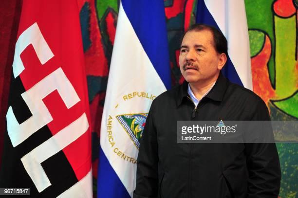 Nicaragua's President Daniel Ortega during the visit of the Russian Canciller Serguei Lavrov on February 14 2010 in Managua Nicaragua