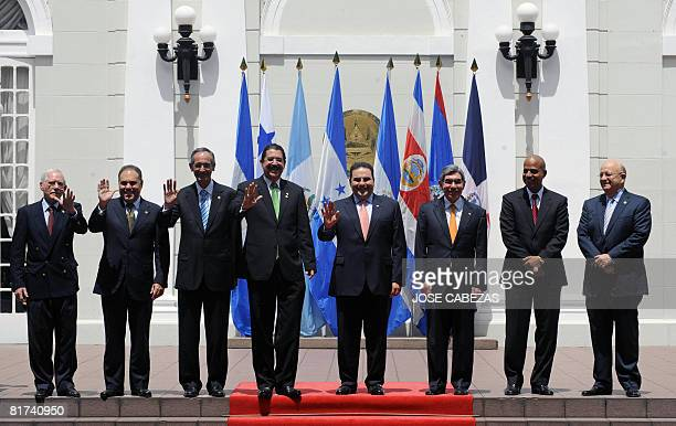 Nicaragua's Vice Minister of Foreign Affairs Manuel Coronado Panama' Minister of Foreign Affairs Samuel Lewis Navarro Presidents Alvaro Colom of...