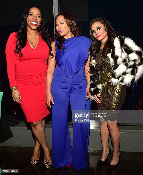 Nicci Gilbert Chrystale Wilson and Sara Stokes attend the From The Bottom Up Reception at Ventanas on January 14 2016 in Atlanta Georgia
