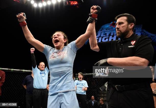 Nicco Montano celebrates her unanimousdecision victory over Roxanne Modafferi in their women's flyweight championship bout during the TUF Finale...
