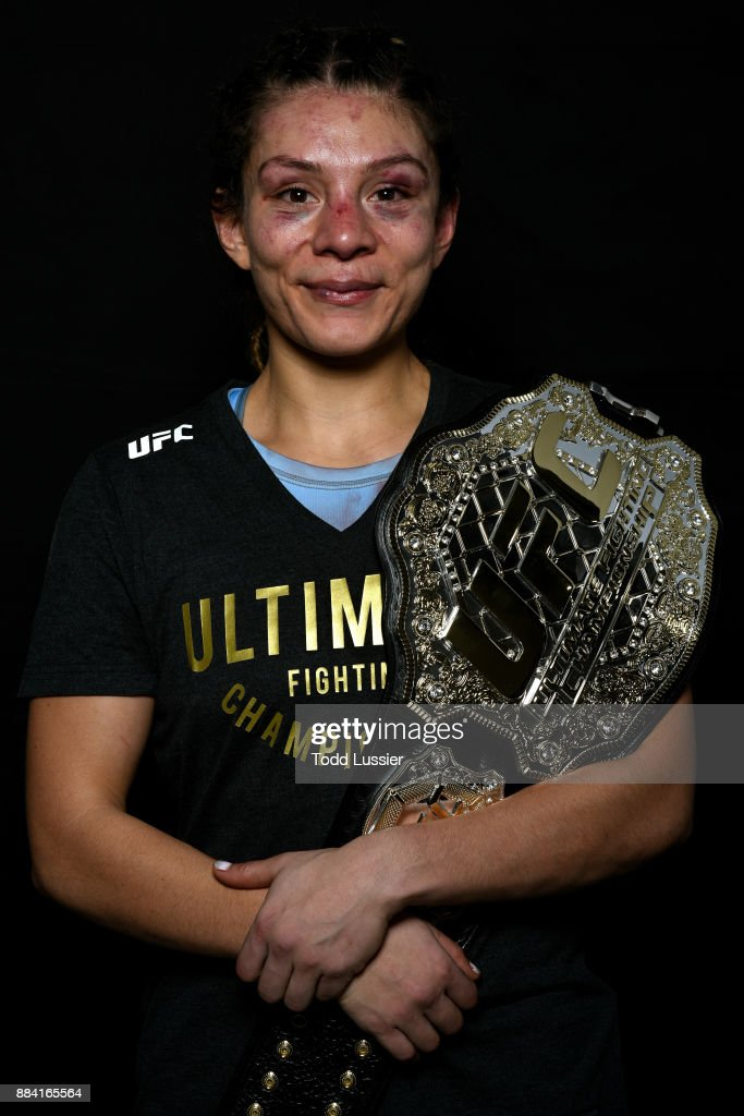 Nicco Montano poses for a portrait after her victory over Roxanne Modafferi during the TUF Finale event inside Park Theater on December 01, 2017 in Las Vegas, Nevada.