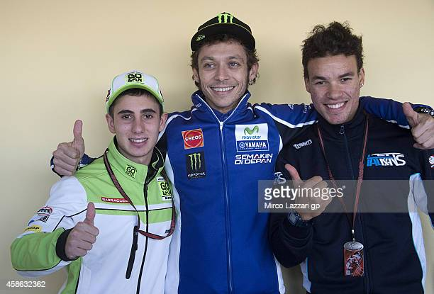 Niccolo Antonelli of Italy and Junior Team GoFun Moto3 Valentino Rossi of Italy and Movistar Yamaha MotoGP and Franco Morbidelli of Italy and...