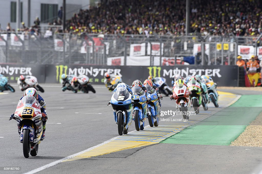 Niccolo Antonelli of Italy and Ongetta Rivacold leads the field during the Moto3 race during the MotoGp of France - Race at on May 8, 2016 in Le Mans, France.