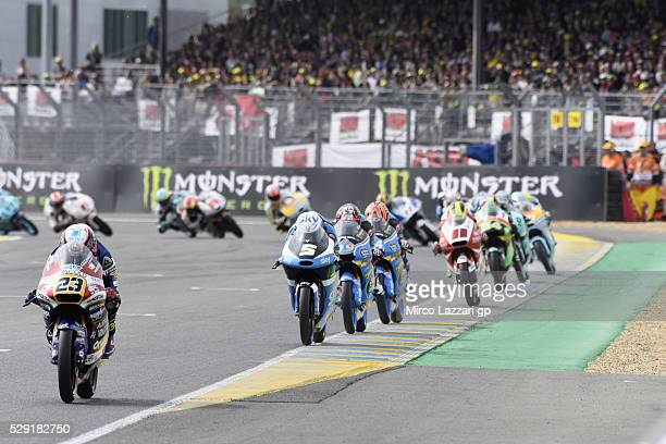 Niccolo Antonelli of Italy and Ongetta Rivacold leads the field during the Moto3 race during the MotoGp of France Race at on May 8 2016 in Le Mans...
