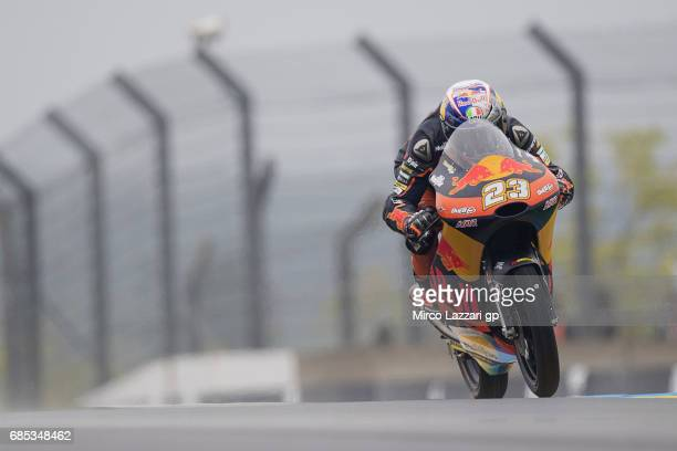 Niccolo Antonelli of Italy and Red Bull KTM Ajo heads down a straight during the MotoGp of France Free Practice on May 19 2017 in Le Mans France